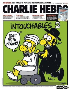 "A typical Charlie Hebdo cover shows a jew and a muslim shouting ""You musn't make fun."""